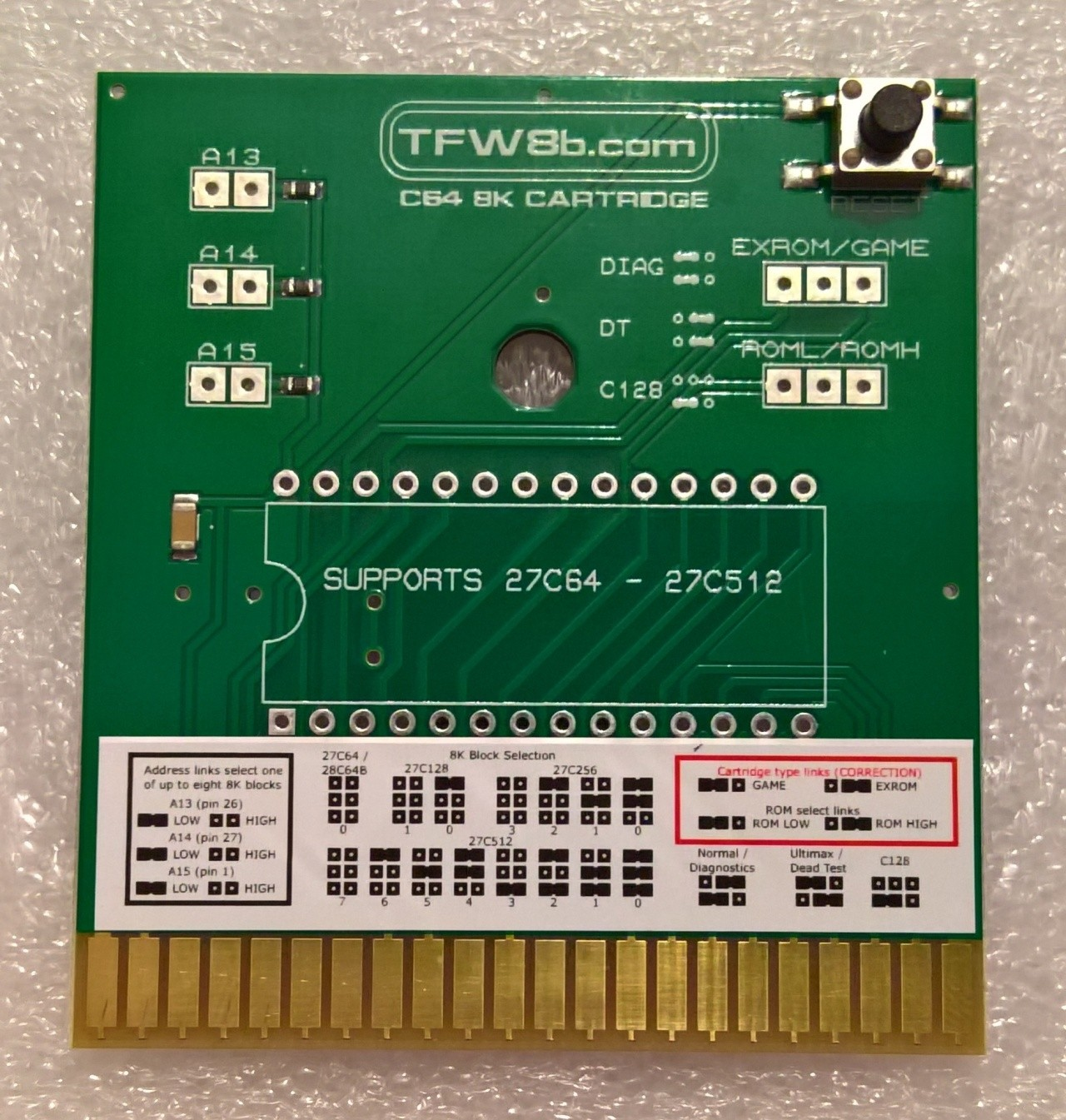 Commodore C64 8K ROM Cartridge PCB