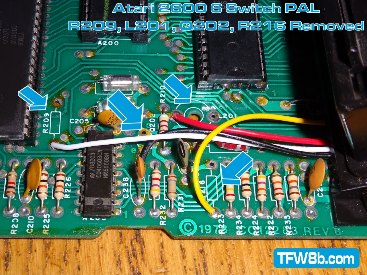 Atari 2600 6 Switch PAL Composite Video Mod